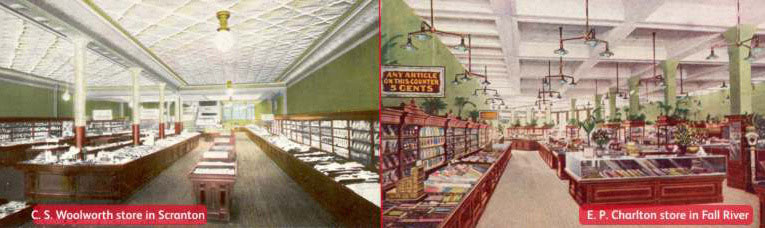 Improved fixtures and fittings started to appear in the flagship five and ten cent stores in the 1890s. Pictured C. S. Woolworth & Co. of Scranton PA and E. P. Charlton and Co. of Fall River, MA. Images with special thanks to Mr. Scott Oakford.