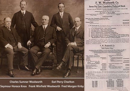 The five principal founders of F. W. Woolworth Co. in the USA, pictured to mark the flotation of the company in 1912.