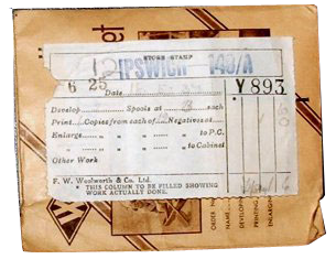 A photograph developing and printing envelope from F. W. Woolworth in Ipswich, dated 18th May 1937.