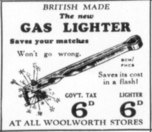 Gas lighters were offered in Woolworths in the 1930s for a shilling - twice the upper price limit of sixpence - by breaking out the sixpence tax from the price for the item itself
