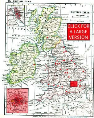 Map showing the location of the 44 Woolworth stores opened in the British Isles before 1914. Click the map to open a larger version.