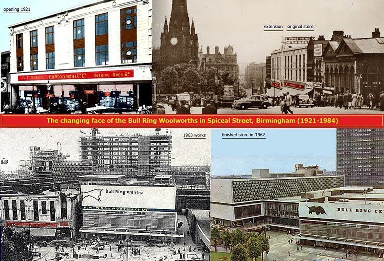 Four views of F. W. Woolworth in Bull Ring Birmingham - 1921, 1951, 1962/3 and 1967.  Today even the 60s development has vanished, replaced by the spectacular Selfridges of Birmingham store. Woolworths later traded nearby in the Pallasades Centre from the mid 1990s until 2008.
