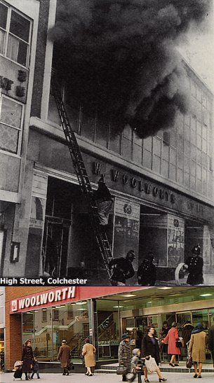 The large Woolworth store in Colchester, Essex was destroyed by fire on 2 October, 1973. No-one was hurt.