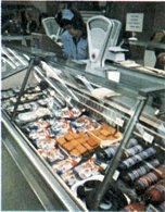 A close up of the delicatessen counter in the Woolworth store in Southend-on-Sea, Essex, UK, taken in 1975