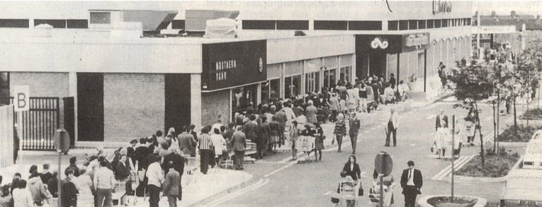 The queue on opening day at the Woolco hypermarket in Newtownards in 1976