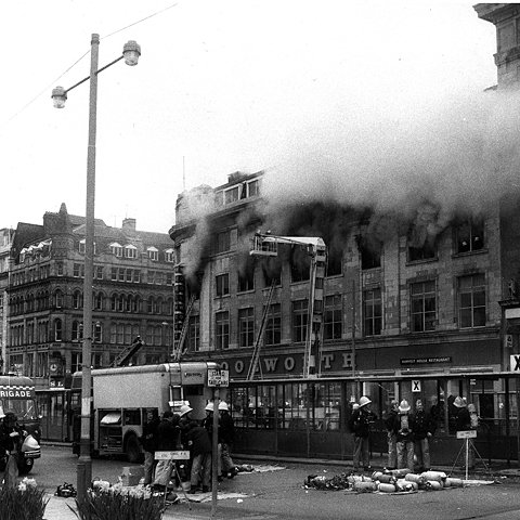 F. W. Woolworth Manchester ablaze on 8 May 1979 (archive picture with special thanks to Mr Graham Hill)