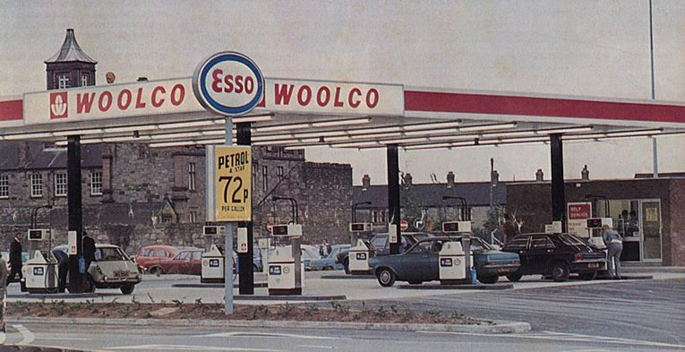 Woolworth's first and only British petrol station. It opened in July 1976 at the Woolco Hypermarket in the Ards Centre near Newtonards in County Down, Northern Ireland.