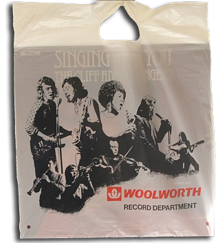 "A line drawing of the stars of the 1970s on a Woolies 12""x14"" (30x35cm) record carrier bag"