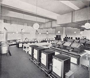 "The ""hygienic, modern kitchens"" of the Woolworths Restaurant in Blackpool, pictured in Spring 1938"