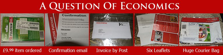 The bureaucracy of an on-line transaction, if you don't quite get it right.  It's hard to make a profit with an email, six leaflets and a courier delivery to pay for