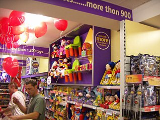 Showcases featured in the toy department at Kingswood - the prototype for a new generation of small stores, pictured in 2005