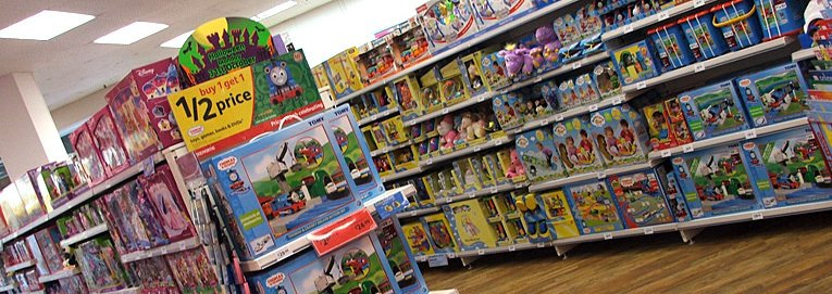 Some of the range of pre-school toys in the 100th store to be converted to the new 'Toys and Celebrations' layout. The aisle shown was just a tenth of the total toys range in the store