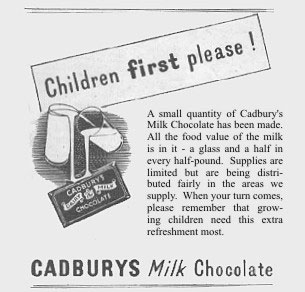 A press advertisement for the limited supplies of Cadbury's Milk Chocolate asks customers to give their ration to children