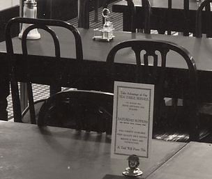 A café table with menu at Woolworths in August 1938
