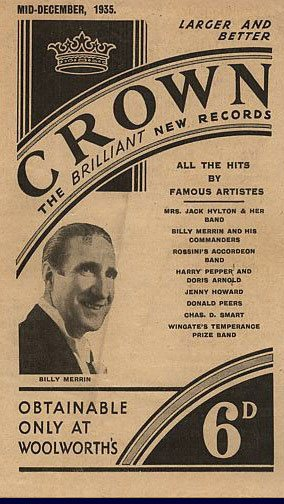 A brochure promoting the new, larger 78 rpm records sold on the Crown Label in Woolworth stores from 1935 onwards. These were given free to customers and bannered a particular artist or genre of music each month