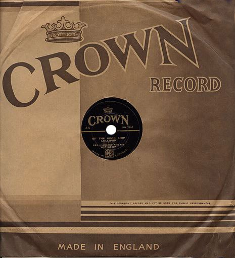 Nine inch (22.5cm) Crown Records like this one were best sellers at Woolworth's between 1935 and 1937. They played at 78rpm and were just sixpence each.