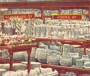 Glassware and China on sale in the first British Woolworths on opening day, 5th November 1909.  With special thanks to Mr. Scott Oakford.