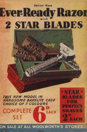 The back cover of Woolworth's Good Things to Know Magazine in 1939, featuring a supplier-funded advertisement for Razors