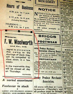 An advert from the Jersey Evening Post (in English despite the front page being printed in German) announces that Woolworths will have to close for period as stocks are running out