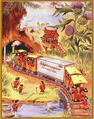 The Freightliner - one of many posters published by Pasold featuring the working Ladybirds. This one includes wonderful detail like the Lochness Monster in the lake in the distance!