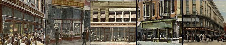The five five and ten cent store chains that disappeared as a result of the $65 million dollar merger that formed F. W. Woolworth Co. in 1912 - F.M. Kirby, S.H. Knox, E.P. Charlton, C.S. Woolworth and W.H. Moore