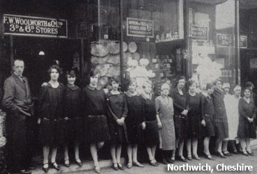 The Manager and staff of the Woolworths in Northwich, Cheshire, pictured in the early 1930s