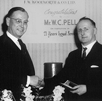 In March 1965, Superintendent Mr R.D. Collett commended Bill Pell on his outstanding contribution to Woolworth's over twenty-one years service, and presented him with a gold Omega watch as a thank-you from the Directors of the Company.