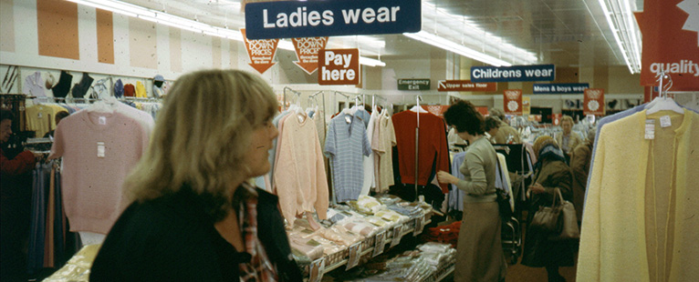 Woolworth aimed to build its share of the fashion market with upscale displays of clothing for men, women and children in the 1970s, particularly in its superstores