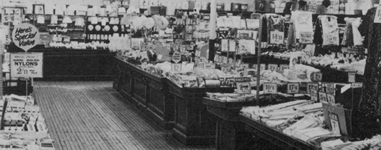 Older stores struggled to display new ranges like fashions on their mahogany counters. Managers had to improve to display hanging garments.