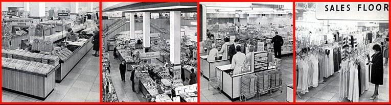Interior views of the new look Bull Ring, Birmingham store, taken in 1966. The firm opted to modernise the ranges and the shopfit, but retained their traditional personal service trading model, with tills at each counter. The store included a large foodhall and an extended fashion offer. The pictures were taken in 1966.
