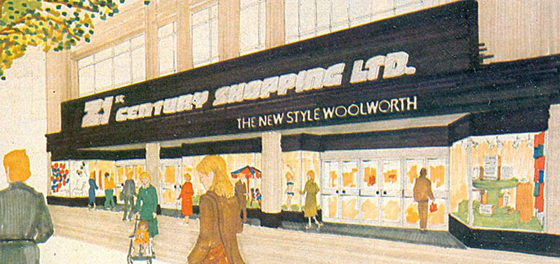 An artist's impression of the fascia at the Bristol 21st Century Shopping store, which was captioned 'The New Style Woolworth'