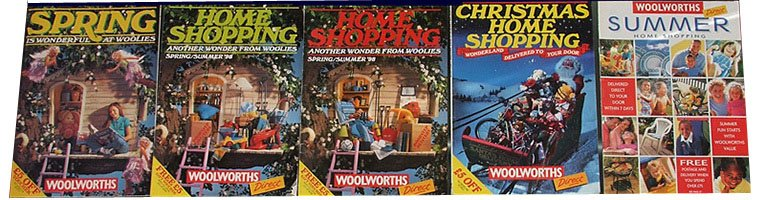 Woolworths Catalogues from 1998. On the left is the traditional store catalogue, while each of the others was specially prepared to support the new drive into Home Shopping.  Many customers asked to buy a shed (which featured on the front of three of the catalogues), only to find that Woolworths didn't sell them!