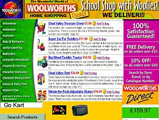 The first prototype for a Woolworths website, built in 1998.  At the time the design was considered too radical for Woolies customers