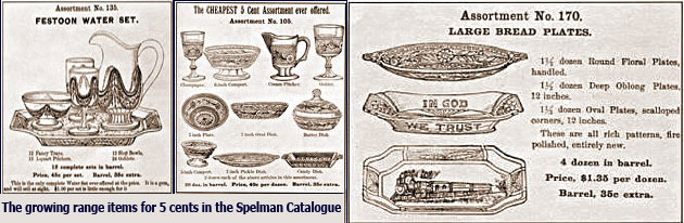 The growing range of five cent lines in the Spelman Catalogue in the 1870s. The copywriter highlighted the fact that sets like the drinking glasses could be broken down into an assortment of profitable items selling for a nickel