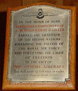 Plaque from Lord Beaverbrook, Minister of Aircraft Production, to the Directors and Team of Woolworths, for contributing two Spitfires to the RAF.