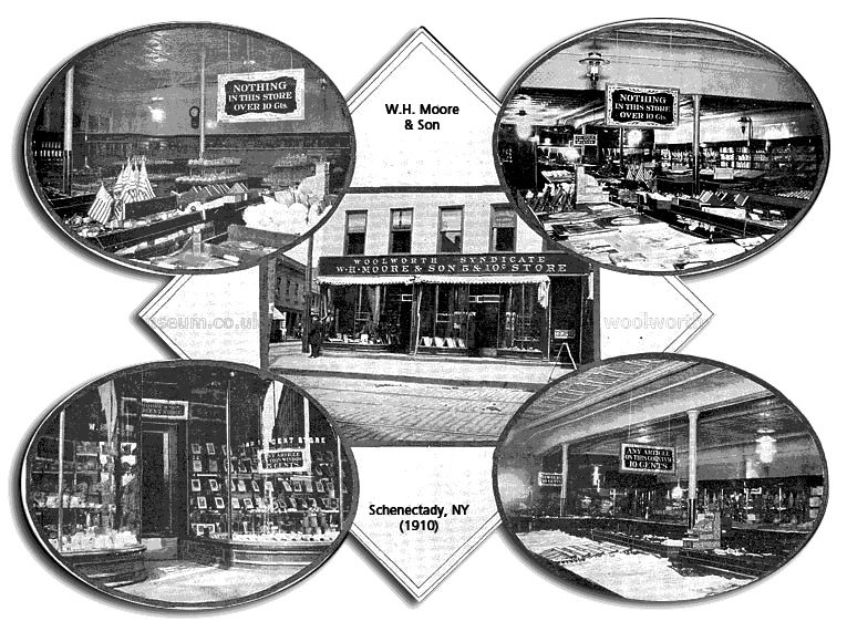 Interior and exterior views of the well appointed The W. H. Moore & Son 5 and 10 Cent Store in Schenectady, New York in around 1910. Moore was credited with coming up with the Five and Ten Cent idea and was an honorary founder of the F. W. Woolworth Co. when it was incorporated in 1912.
