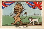 The lion boasts 'NOW we're busy !!' in this patriotic postcard from the shelves of Woolworths during World War One