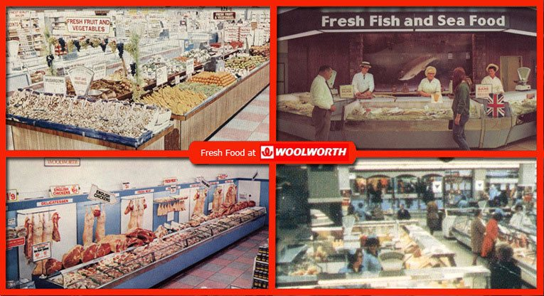 In the 1960s and 1970s the largest Woolworths stores included a comprehensive range of food and grocery. Our composite image shows (top left) Fresh Fruit and Vegetables at Shrewsbury, (top right)  fresh fish at Wolverhampton, (bottom left) butchery in Cardiff and (bottom right) delicatessen on the upper floor of the Whitgift Centre, Croydon