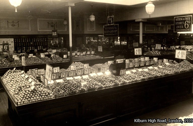 Huge displays of Autumn Bulbs in the Kilburn High Road, London store in 1939, just days before war was declared