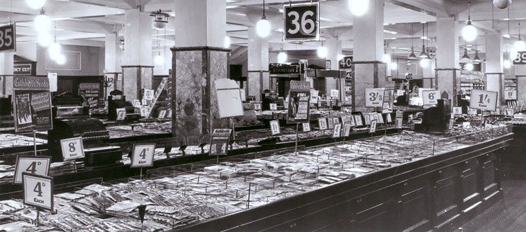 Displays of R & G Cuthbert's seeds dominate the salesfloor of a Woolworths store in 1948. The picture shows that prices were much higher by 1948 but the store layout was largely unchanged since 1939, despite the World War in the intervening years