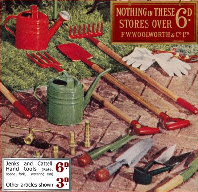 Jenks and Cattell made remarkably resilient garden tools for Woolworth's. In the 1930 shoppers could choose a spade, fork or rake for sixpence, a trowel for threepence, or a dibber for a penny