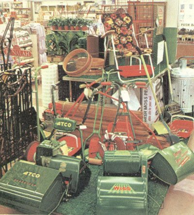Cylinder and Petrol Lawnmowers were added to the Woolworth range as part of its first out-of-town 'Woolco' superstore, which opened in Oadby, Leicester in 1967.  They also became popular sellers in the largest City Centre superstores.