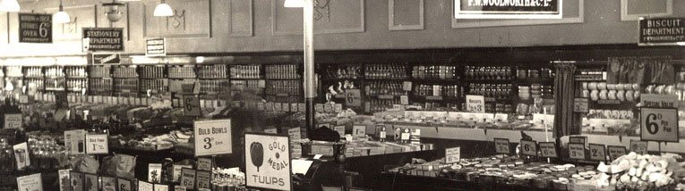 Tulips and bulbs on sale at the Woolworth store in Staines, Middlesex in around 1930