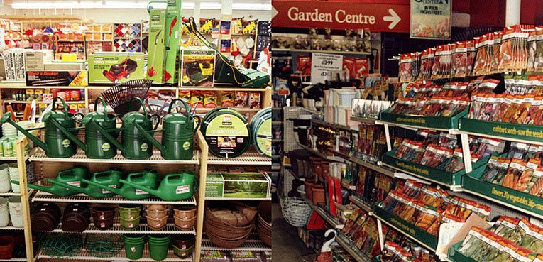 The gardening offer in the smaller Woolworths stores in 1986. On the left, a refurbished 'Woolworths General Store' in Egham, on the right the traditional format store in nearby Camberley, which had a Garden Centre. Hanging banners announced that Woolworths was 'The Garden Centre in your High Street'.