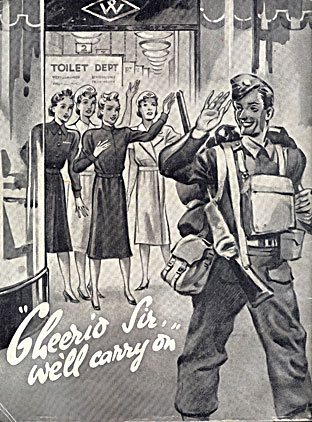 "The back cover of the first ""New Bond"", the Woolworths staff magazine of World War II, published in November 1939.  Colleagues wave goodbye as a Store Manager in military uniform leaves to serve his country.  The caption reads ""Cheerio, Sir, we'll carry on""."