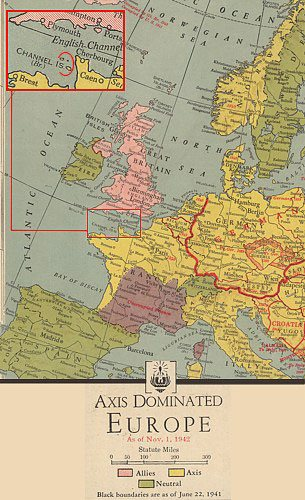 From the F. W. Woolworth war atlas (sold only in North America) - a map of axis dominated Europe in 1942.  The Channel Islands are coloured yellow as Axis rather than Allied Territory.