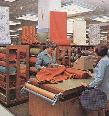 Fabric by the yard from the shelves of Woolworth's Harlow in 1969