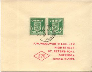 A wartime envelope to F.W. Woolworth in St Peter Port, Guernsey in 1941.  Note the subtle changes the German occupiers had made to the stamps to remove any reference to the British monarchy.