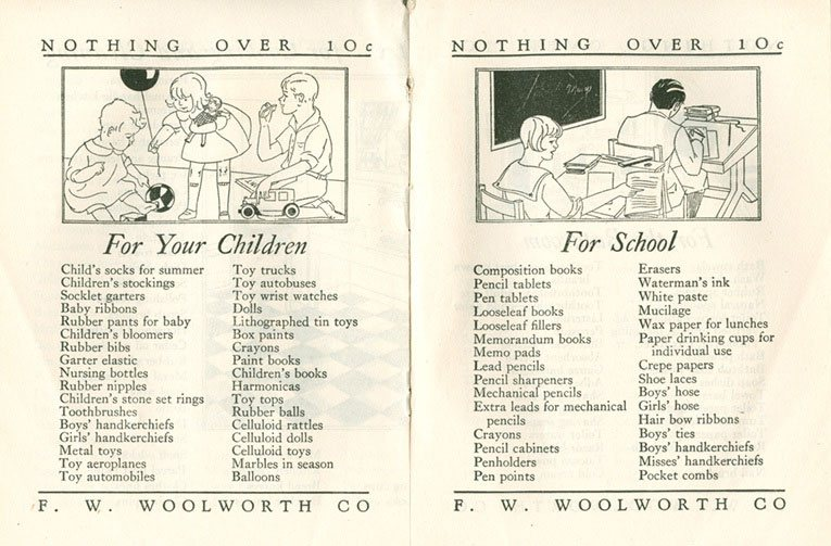 An example spread from the Woolworths Home Shopping brochure from 1929.