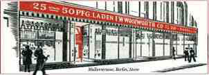 An artist's impresion of the F. W. Woolworth stroe in Berlin, which opened in 1928.